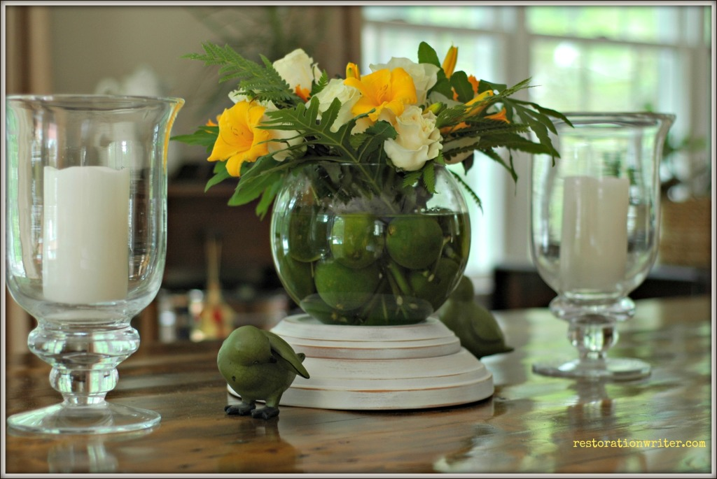 Limes and Roses Centerpiece