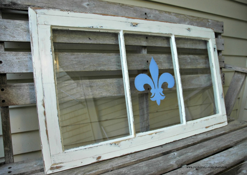 Upcycled Window with Painted Fleur-de-lis