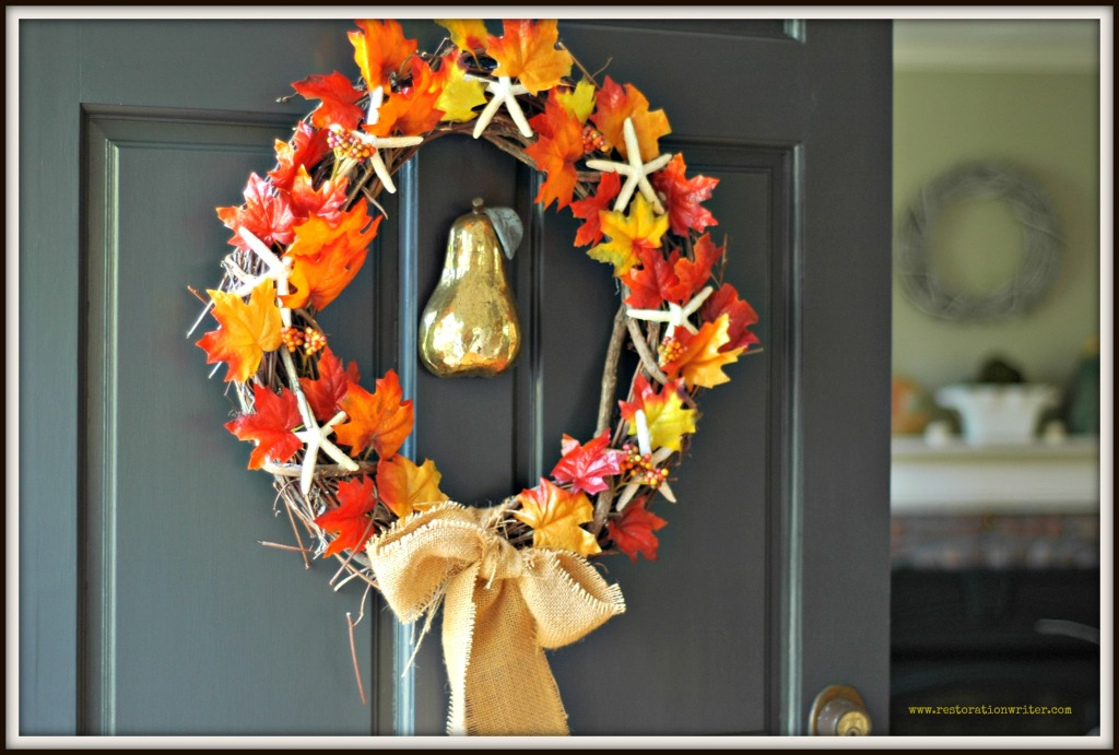 Fall Leaves and Starfish Wreath