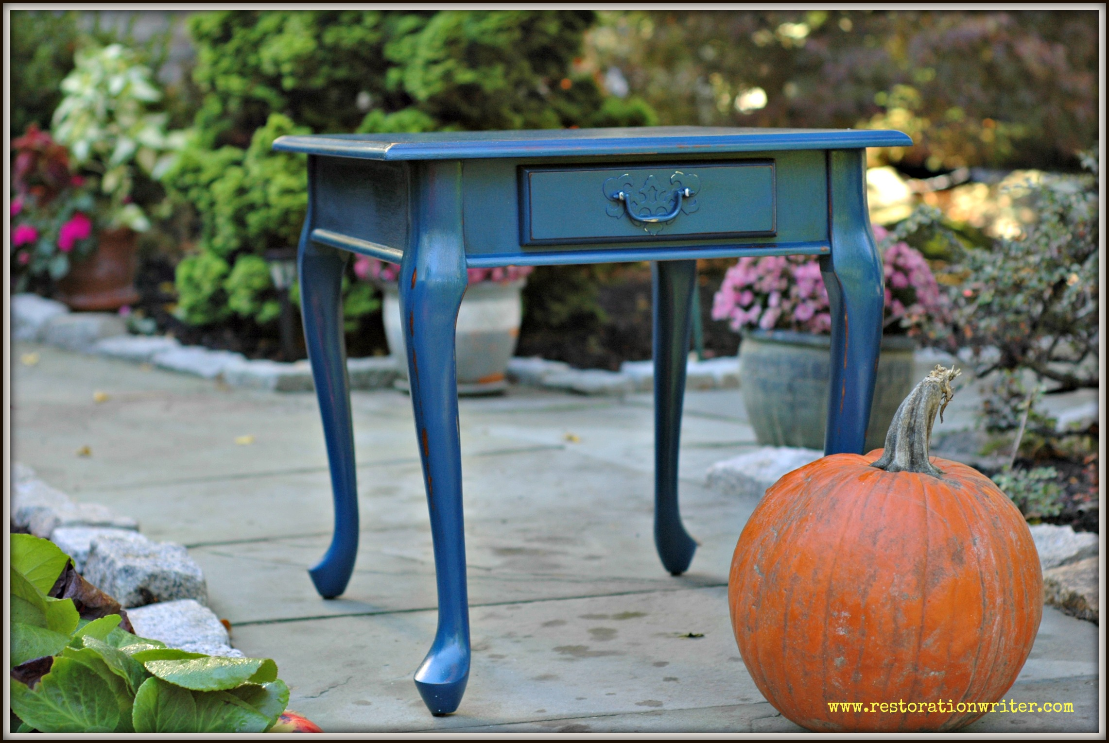 Distressed Navy End Table Restoration Writer