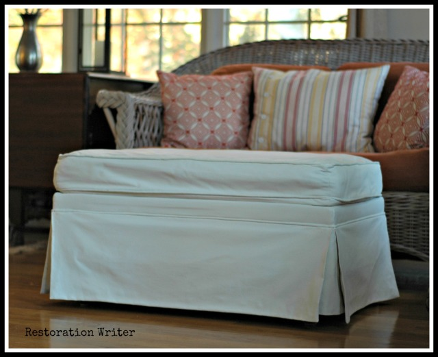 Painted Fabric Ottoman