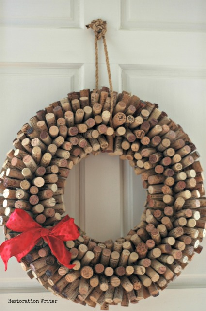 www.restorationwriter.com Cork Wreath