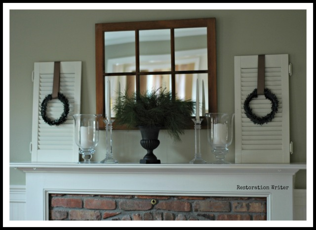 Simple and understated Christmas mantel