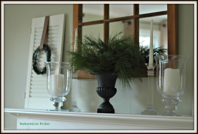 Simple Green and White Christmas Mantel