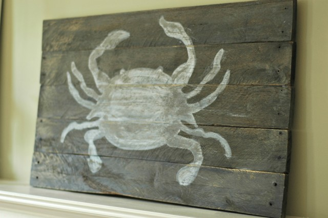Hand-painted Crab Pallet Wood Sign