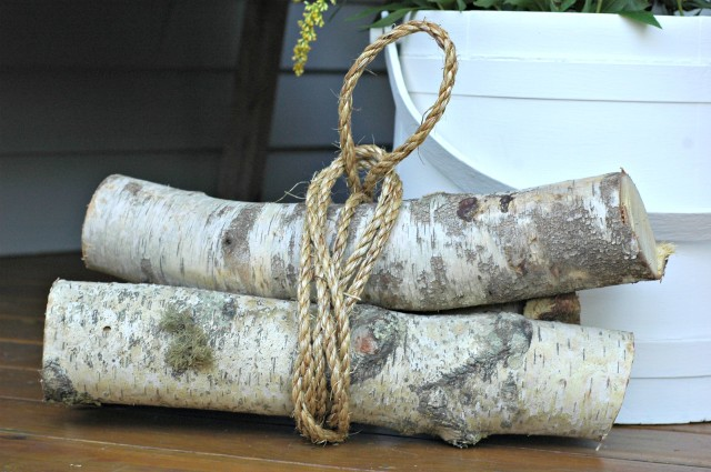 Birch Logs Tied with Hemp Rope