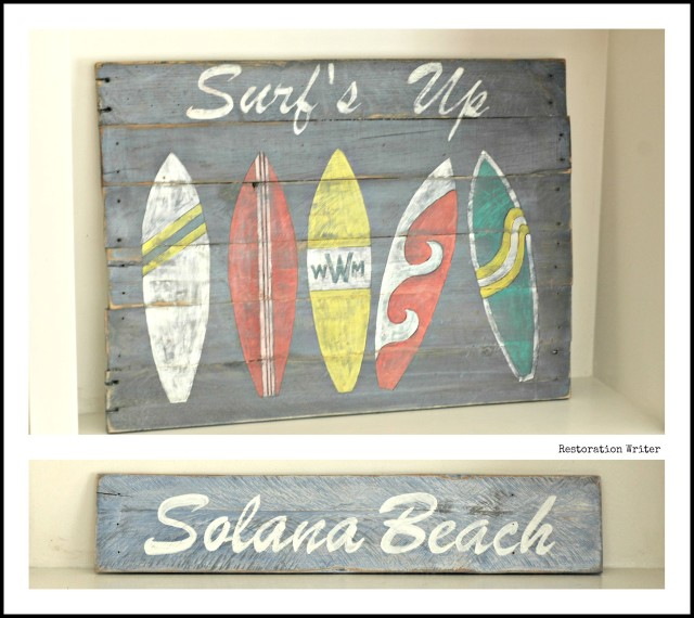 Surf's up handpainted surfboard sign