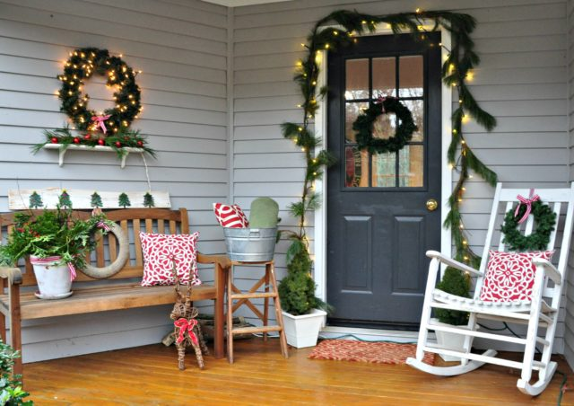Christmas decorated front porch