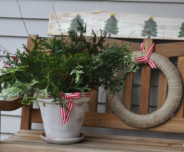 Christmas greenery and kitchen twine wreath